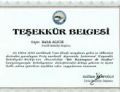 HALUK ALICIK'A TEŞEKKÜR BELGESİ!